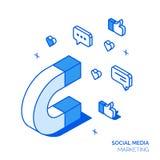 Het isometrische sociale marketing concept van de lijnstijl vector illustratie
