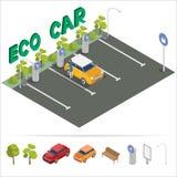 Het Isometrische Vervoer van de Ecoauto Het laden post Ga groen concept Stock Foto