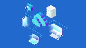 Het isometrische Vlakke Wolk de Opslag van van het bedrijfs gegevensverwerkingsnetwerk Online videoconcept Financiënanalytics vector illustratie