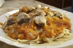 In het Italiaans spaghetti Stock Foto
