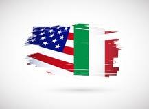 het Italiaanse Amerikaanse ontwerp van de vlagillustratie Royalty-vrije Stock Afbeelding