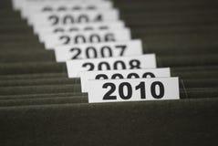 Het jaar 2010 in indexdossiers Stock Foto