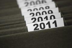 Het jaar 2011 in indexdossiers Royalty-vrije Stock Fotografie