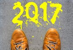 het jaar die van 2017 vooruit eruit zien Royalty-vrije Stock Afbeeldingen