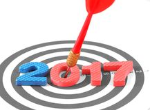 Het jaar 2017 doel, twee duizend zeventien met het pijltjepijl die van onduidelijk beeld rode bullseye doel raken centreert dartb Stock Afbeelding
