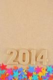 het jaar gouden cijfers van 2014 Stock Fotografie