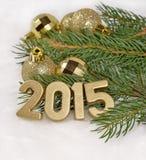 het jaar gouden cijfers van 2015 Stock Afbeeldingen