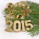 het jaar gouden cijfers van 2015 Stock Foto