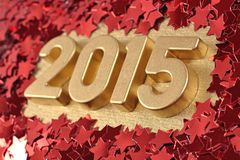 het jaar gouden cijfers van 2015 Stock Afbeelding
