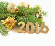 het jaar gouden cijfers van 2016 Royalty-vrije Stock Afbeeldingen