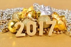 het jaar gouden cijfers van 2017 Stock Foto