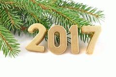 het jaar gouden cijfers van 2017 Stock Afbeelding