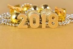 het jaar gouden cijfers van 2018 Stock Foto
