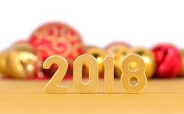 het jaar gouden cijfers van 2018 en Kerstmisdecoratie op een wit Royalty-vrije Stock Fotografie