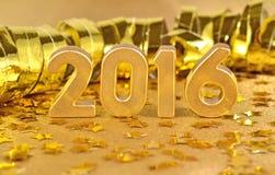 het jaar gouden cijfers van 2016 en van gouden sterren Stock Afbeelding
