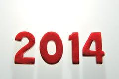 Het jaar 2014 in houten aantallen samen Stock Afbeelding