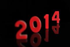 Het jaar 2014 in houten aantallen samen Stock Fotografie