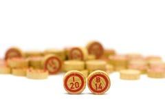 Het jaar 2014 in houten bingotegels Royalty-vrije Stock Afbeelding