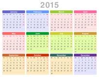 het jaar jaarlijkse kalender van 2015 (Engelse Maandag eerst,) Stock Foto