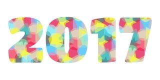 het jaar kleurrijk vectorsymbool van 2017 Stock Foto