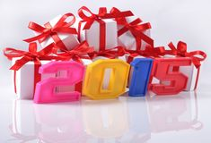 het jaar kleurrijke cijfers van 2015 Stock Foto