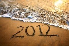 het jaar van 2012 op het strand Stock Afbeelding