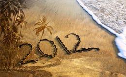 het jaar van 2012 op het strand Stock Foto