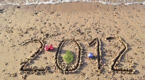 het jaar van 2012 op het strand van Eilat, Israël Stock Fotografie