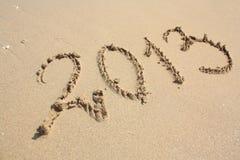 het jaar van 2013 op het strand Royalty-vrije Stock Foto's