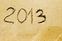 het jaar van 2013 op het zandstrand Stock Foto