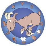 Het jaar van de geit Chinees horoscoopbeeldverhaal Stock Fotografie