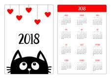 Het jaar van de zakkalender 2018 De week begint Zondag Zwarte kat die omhoog aan het hangen van rode harten kijken Vlak ontwerp G Royalty-vrije Stock Fotografie