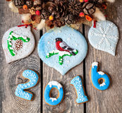 het jaar van 2016 dichtbij zoet peperkoekspeelgoed Royalty-vrije Stock Afbeelding