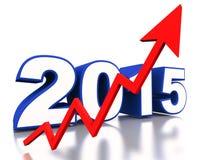 het jaar van 2015 het toenemen grafiek Stock Foto's