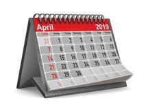 het jaar van 2019 Kalender voor April Geïsoleerde 3d illustratie Stock Illustratie