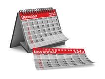het jaar van 2019 Kalender voor December Geïsoleerde 3d illustratie stock illustratie
