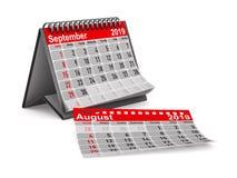 het jaar van 2019 Kalender voor September Geïsoleerde 3d illustratie stock illustratie