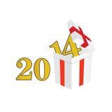 het jaar van 2014 met een pakket en een verrassingenvector royalty-vrije illustratie