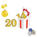 het jaar van 2014 met een pakket en Kerstmisvector van de balkleur vector illustratie