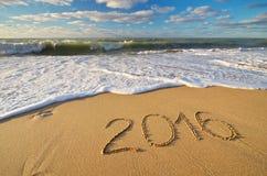 het jaar van 2015 op de overzeese kust Stock Foto's