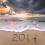 het jaar van 2017 op de overzeese kust Royalty-vrije Stock Foto