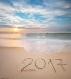 het jaar van 2017 op de overzeese kust Stock Foto's