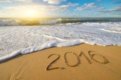 het jaar van 2016 op de overzeese kust Stock Foto