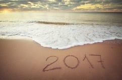 het jaar van 2017 op de overzeese kust Royalty-vrije Stock Afbeeldingen
