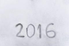 het jaar van 2016 op de sneeuw, concpet van de inspiratie die van 2016 wordt geschreven Royalty-vrije Stock Foto's