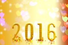 het jaar van 2016 op vaag bokeh licht Stock Fotografie