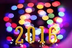 het jaar van 2016 op vaag bokeh licht Stock Afbeeldingen