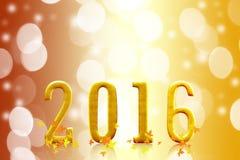 het jaar van 2016 op vaag bokeh licht Royalty-vrije Stock Foto