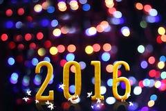 het jaar van 2016 op vaag bokeh licht Stock Foto's