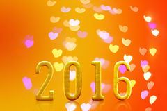 het jaar van 2016 op vaag bokeh licht Royalty-vrije Stock Afbeeldingen